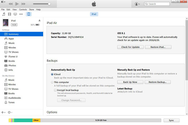 Restore iPad with iTunes